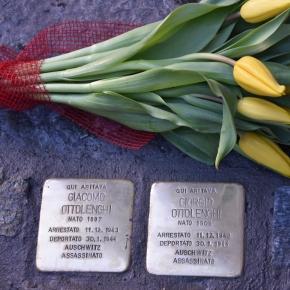 Pietre d'inciampo a Torino. Il ritorno a casa degli zii Giorgio e Giacomo Ottolenghi, uccisi nel 1944 ad Auschwitz. Ci sono voluti 73anni