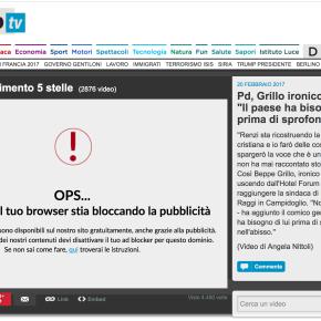 La Repubblica nega la visione dei video a chi installa AdBlock sulbrowser