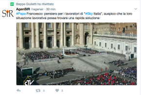 """Papa Francesco con i dipendenti di Sky: """"Auspico che la loro situazione lavorativa trovi rapida soluzione"""""""