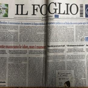 Il Foglio, primo giornaleCovid-free